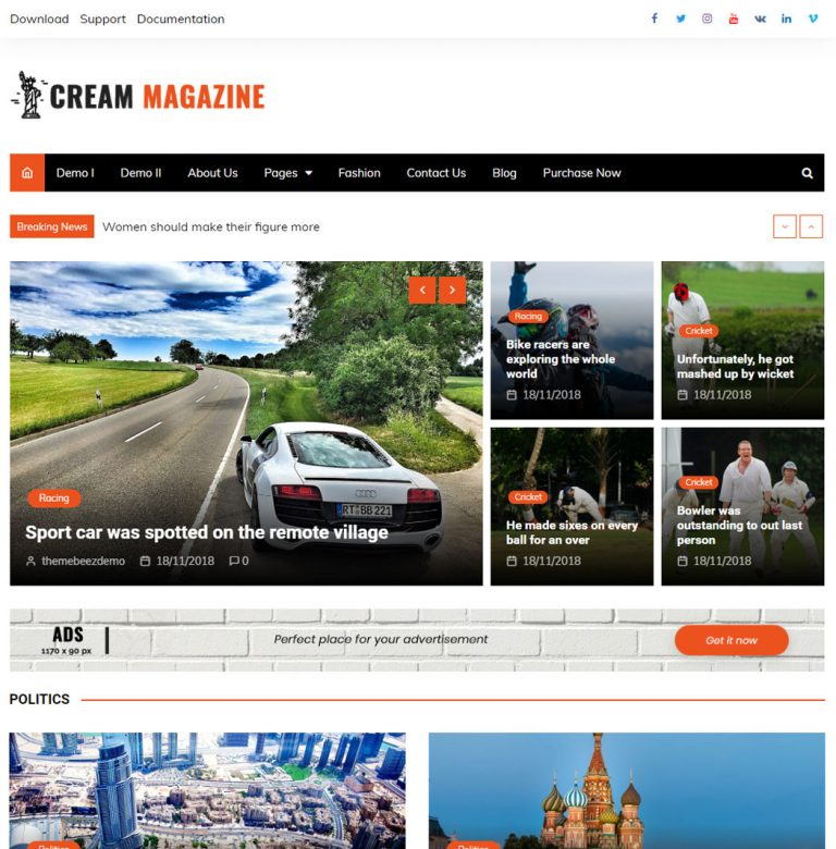 Cream Magazine WordPress Theme