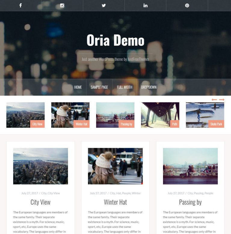 Oria WordPress Theme
