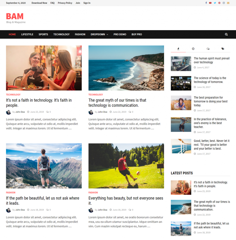 Bam - WordPress Theme