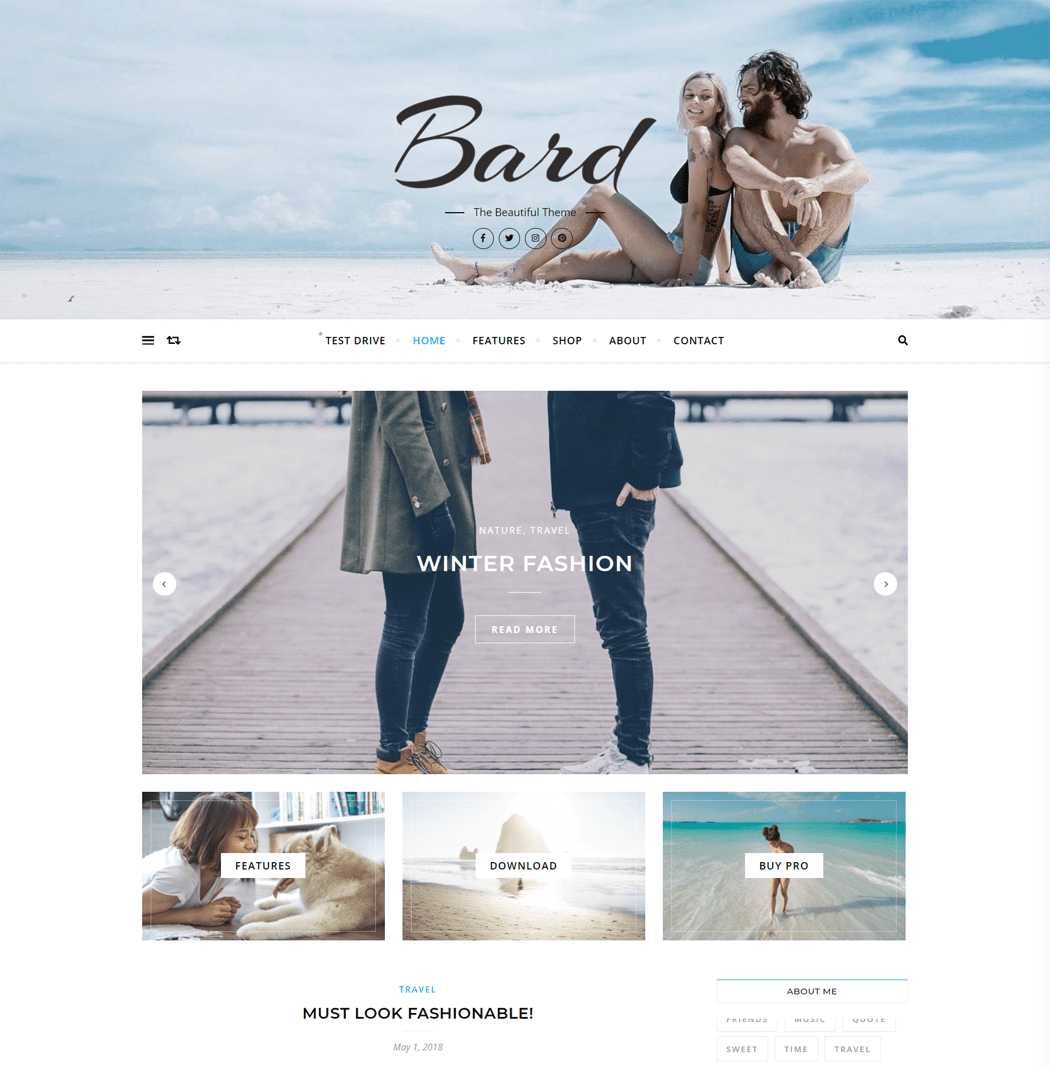 Bard - Personal Author Free WordPress