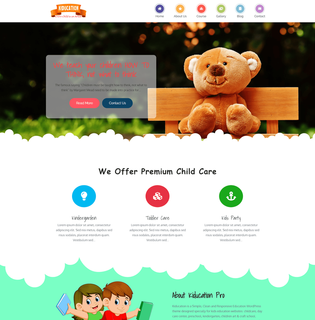 Kiducation is a Simple Clean and Responsive Education WordPress theme