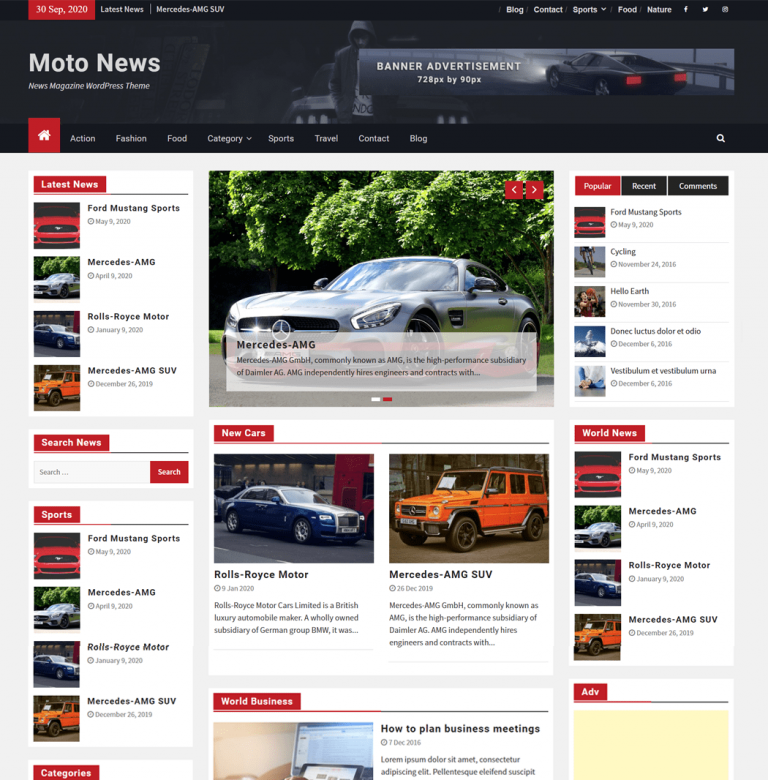 Moto News WordPress Theme