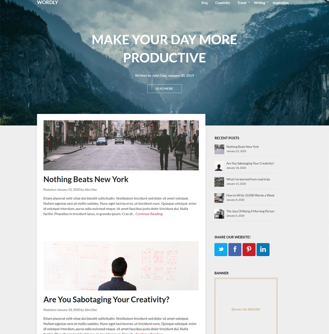 Wordly - WordPress Theme