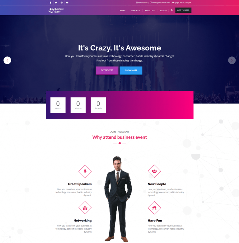Business Event - dedicated event WordPress theme for business meetups
