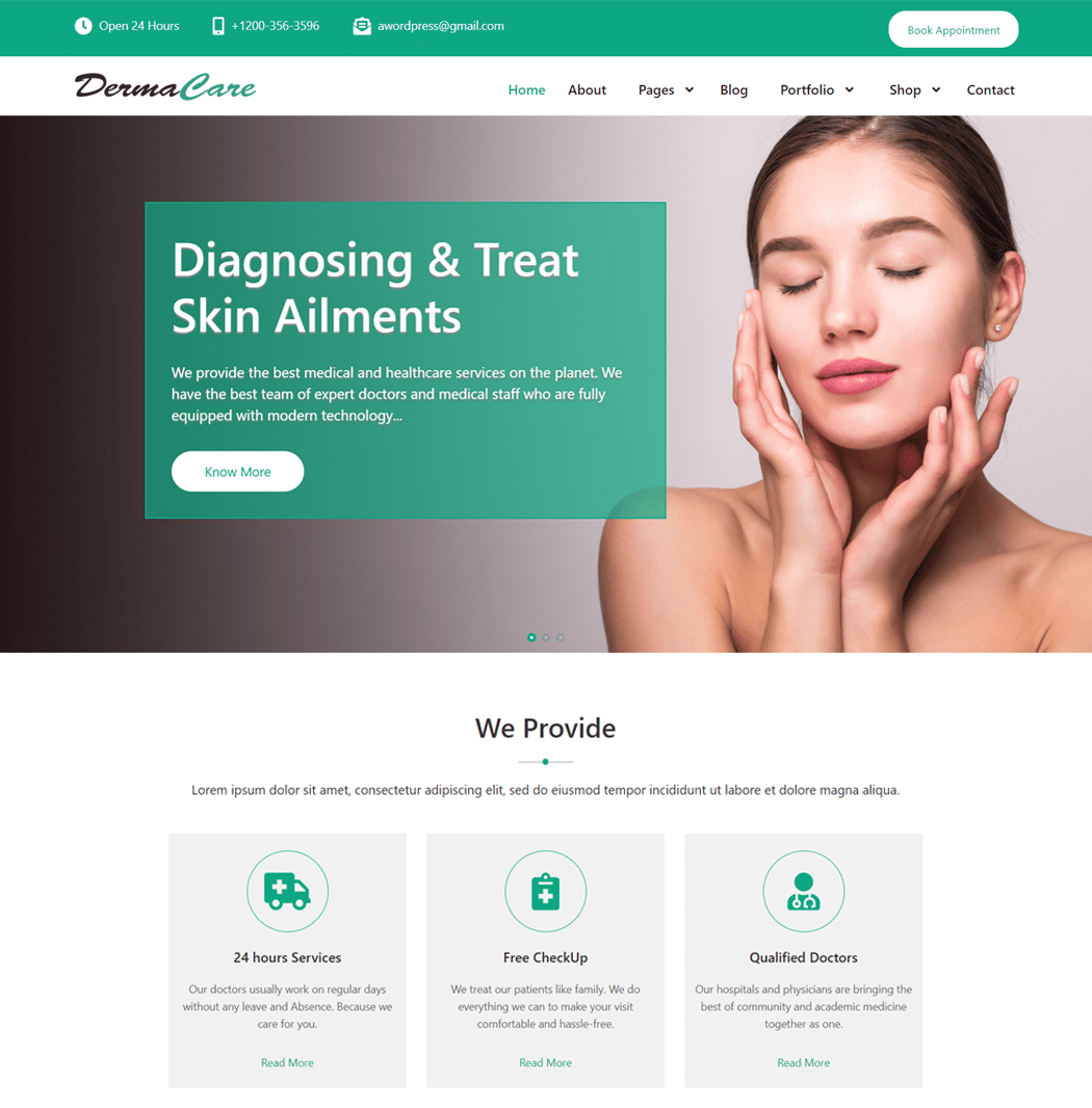 DermaCare - WordPress Theme For Dermatology Doctor Hospital Clinic