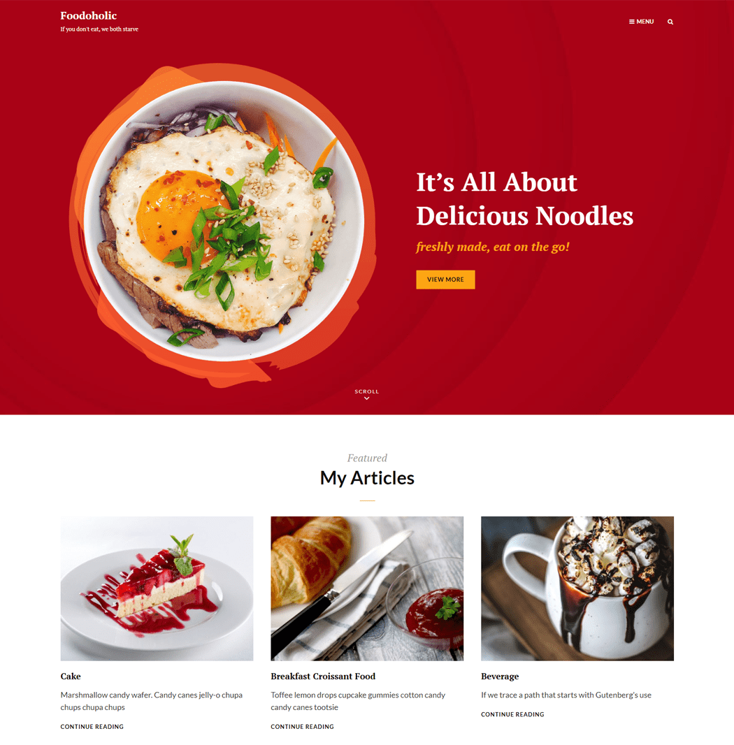 Foodoholic is a clean simple and aesthetically pleasing WordPress theme