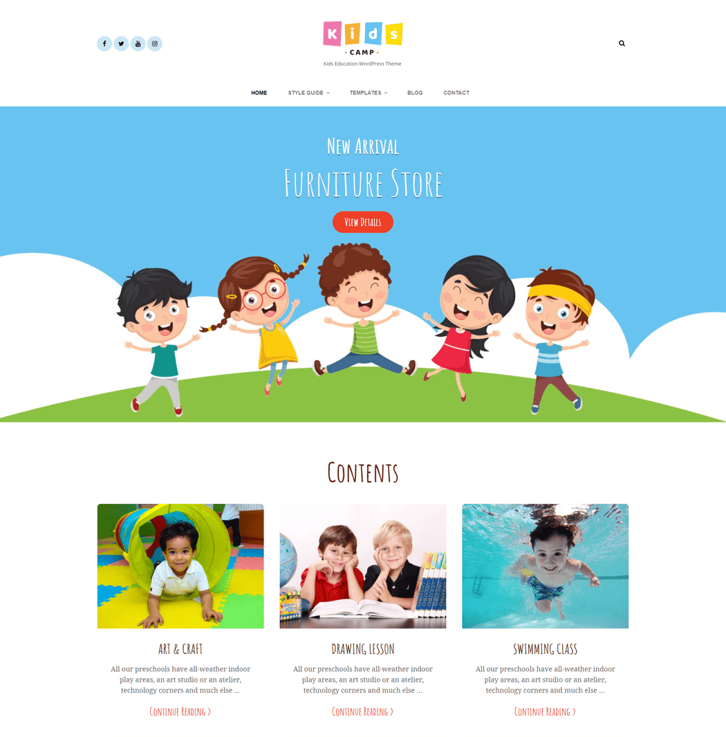Kids Camp is a free Kids and Children WP Theme