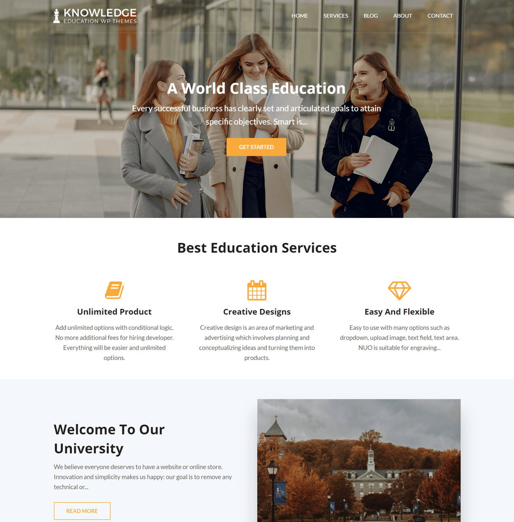 Knowledge is a clean simple and elegant Education WordPress theme