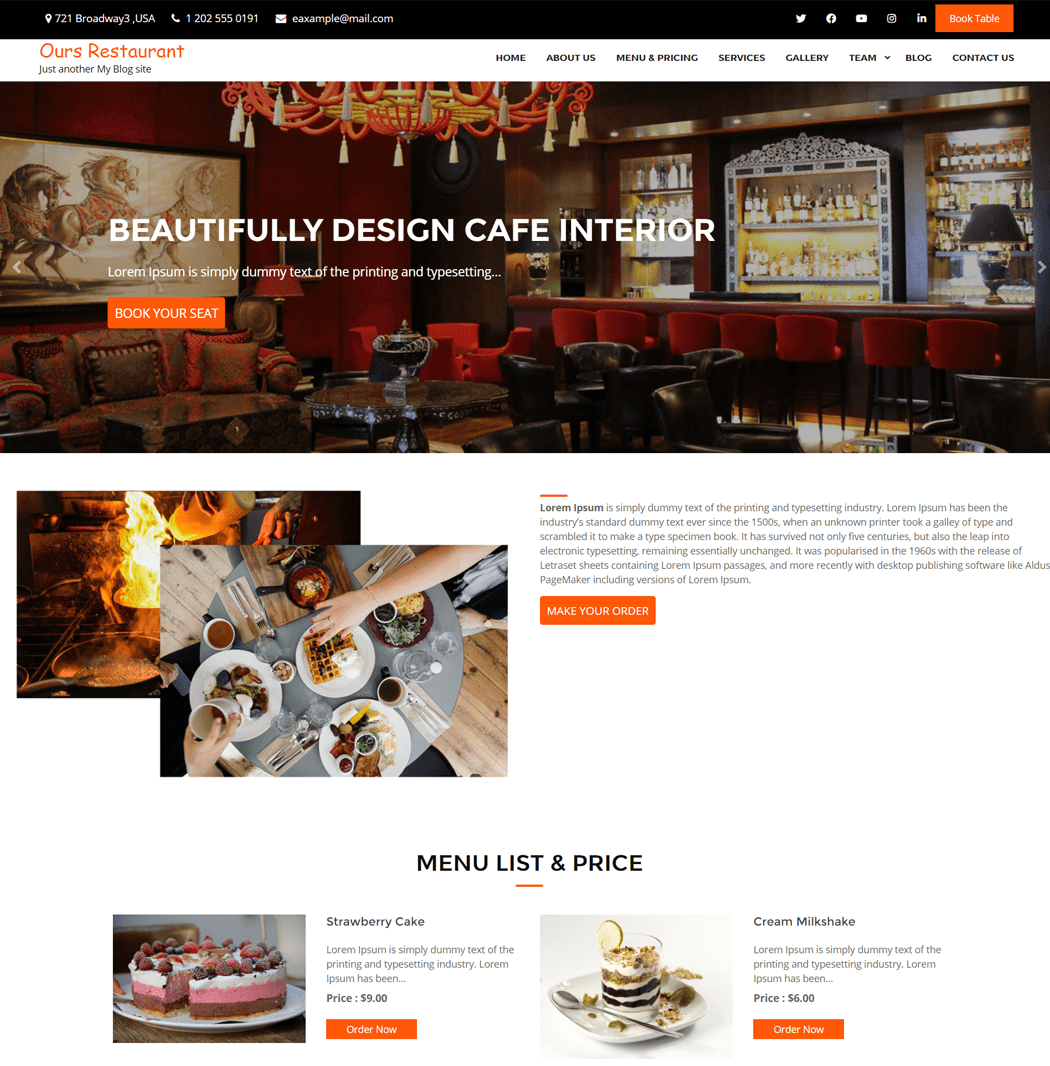 Ours Restaurant is an elegantly designed WordPress theme for restaurants