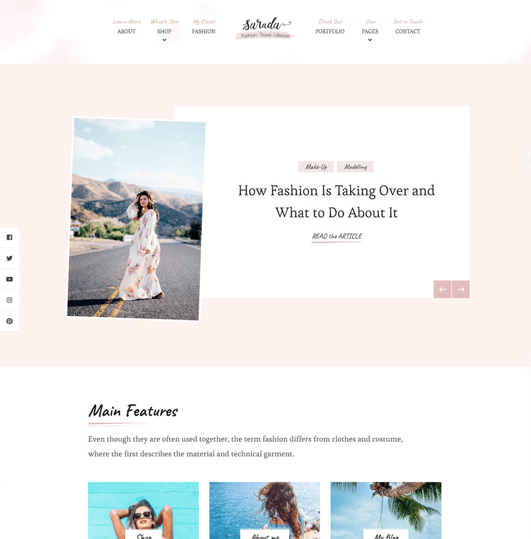 Sarada Lite - Easy to use feminine blog theme for professional bloggers