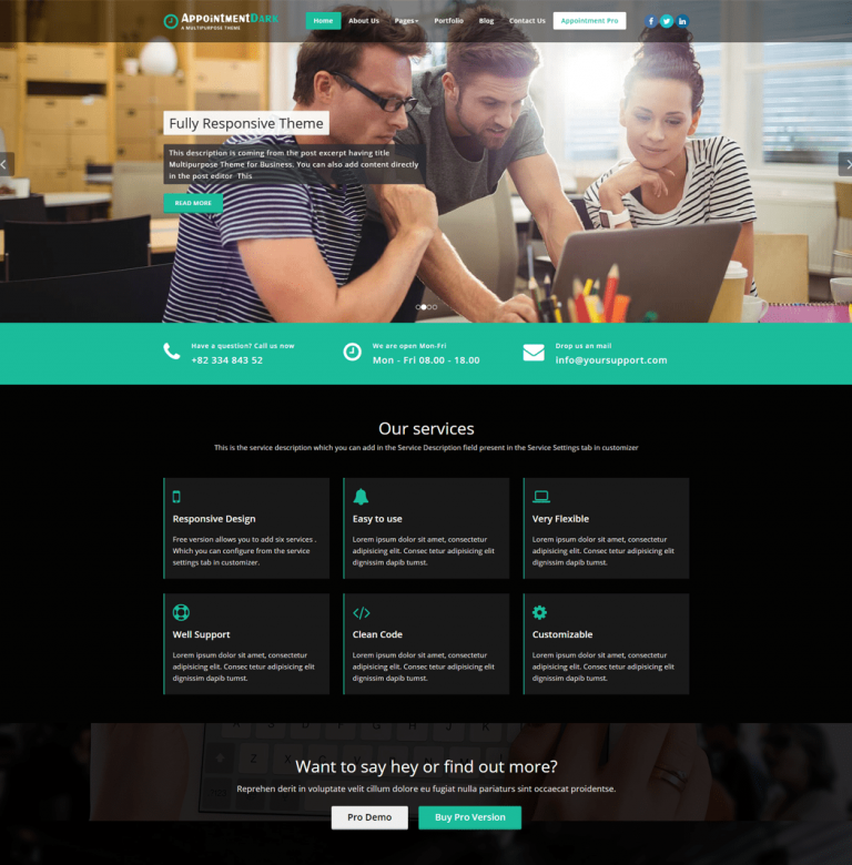 Appointment Dark WordPress Theme is a fully responsive theme
