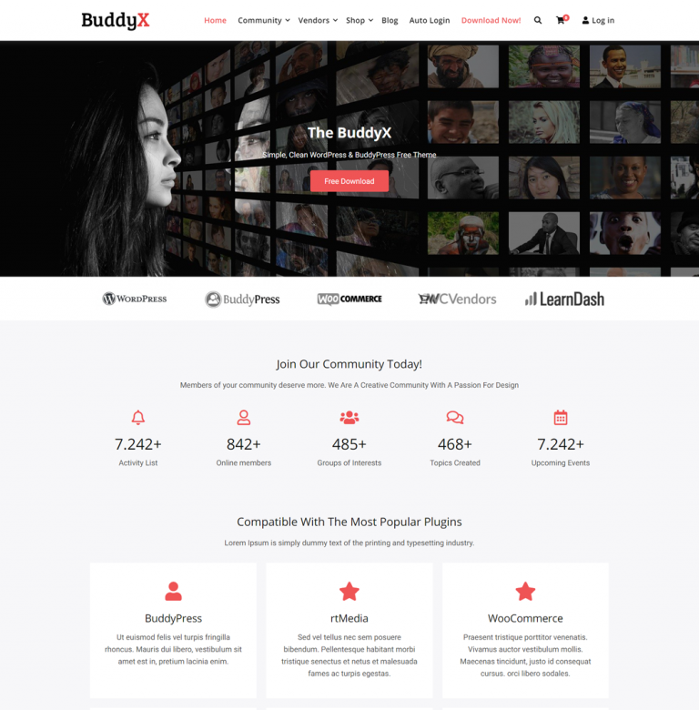 BuddyX is an ideal theme for community and membership websites