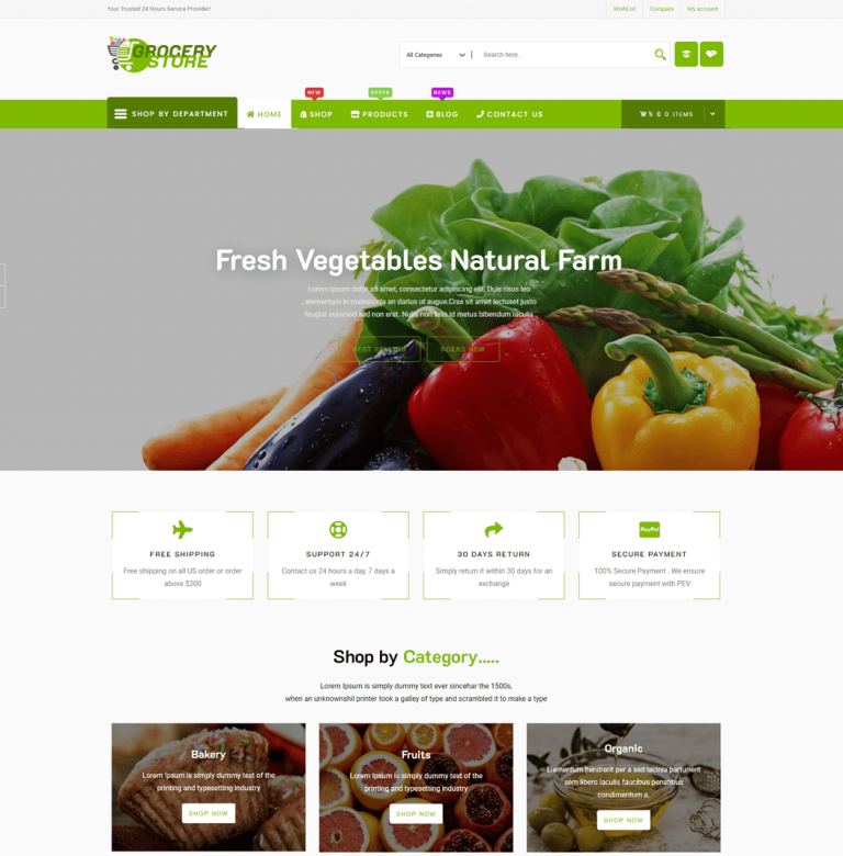 Grocery-Store is an elegant free WooCommerce theme specially designed for multipurpose shops