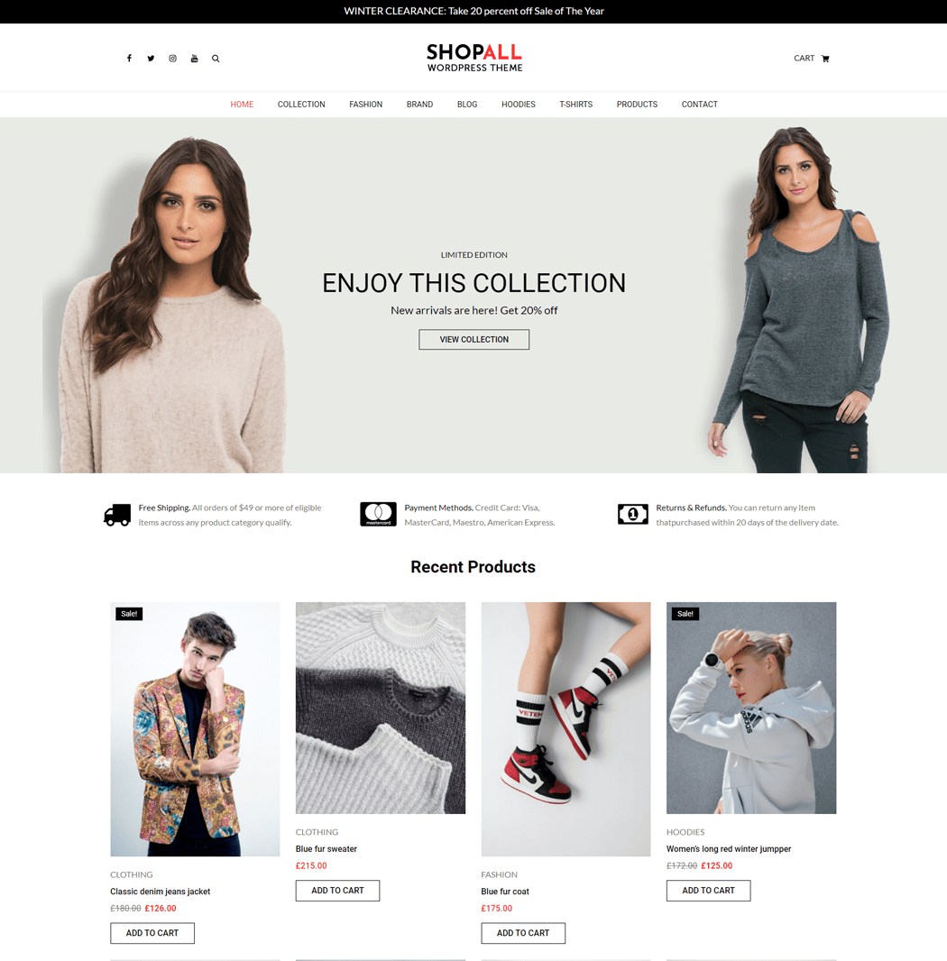 Shopall is a simple clean and focused modern product offering deep integration with WooCommerce