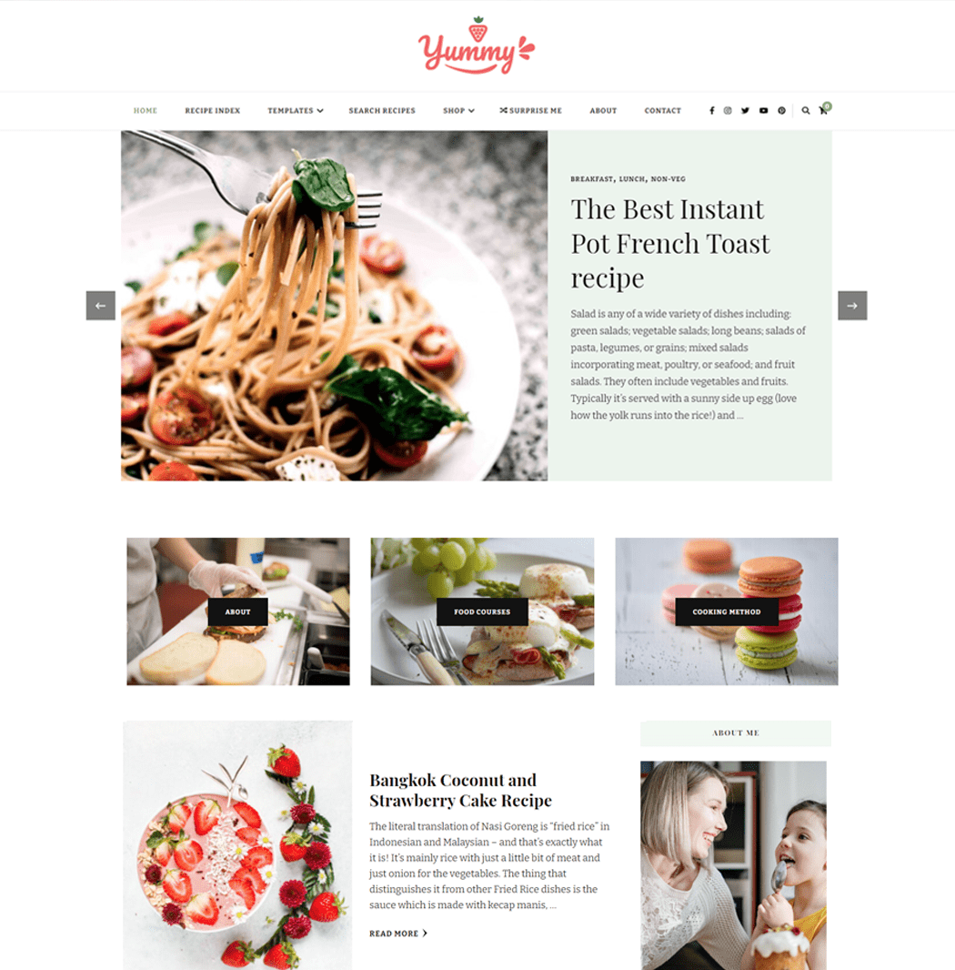 Yummy Recipe is a perfect theme for food blog and recipe website