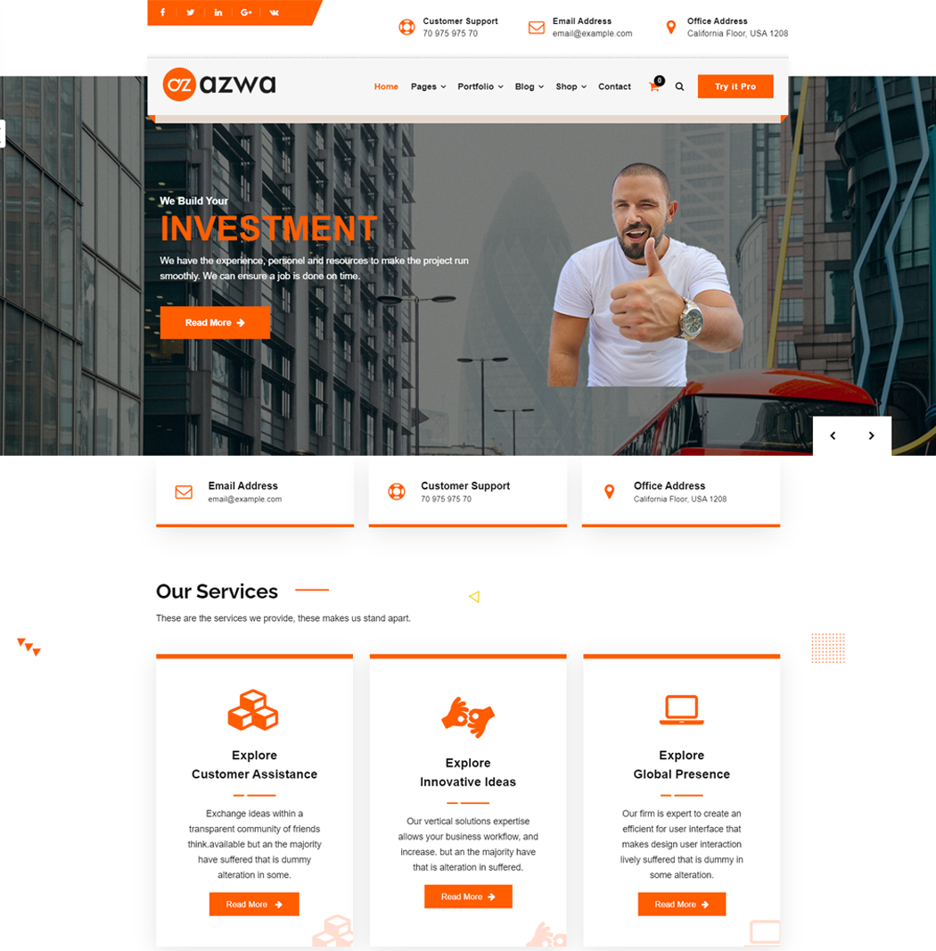 azwa is a fast and lightweight multi-purpose WordPress theme