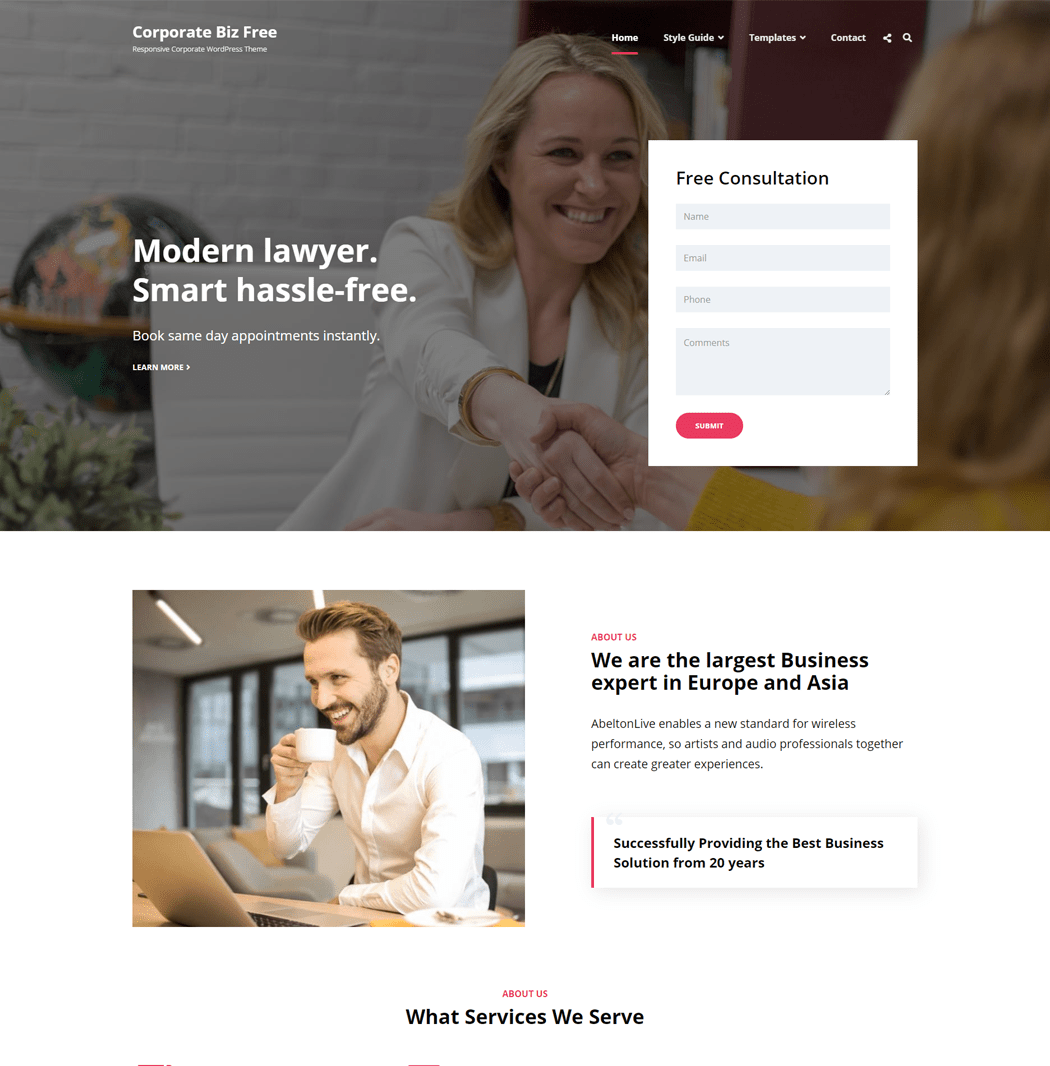 Corporate Biz is a free Corporate WordPress theme