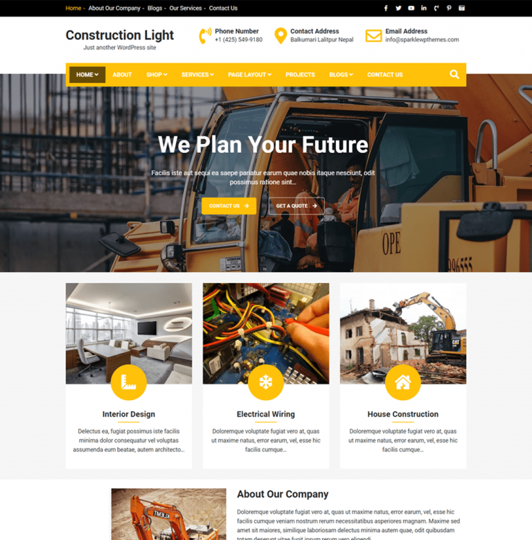 Construction Light is a user-friendly feature-rich WordPress theme