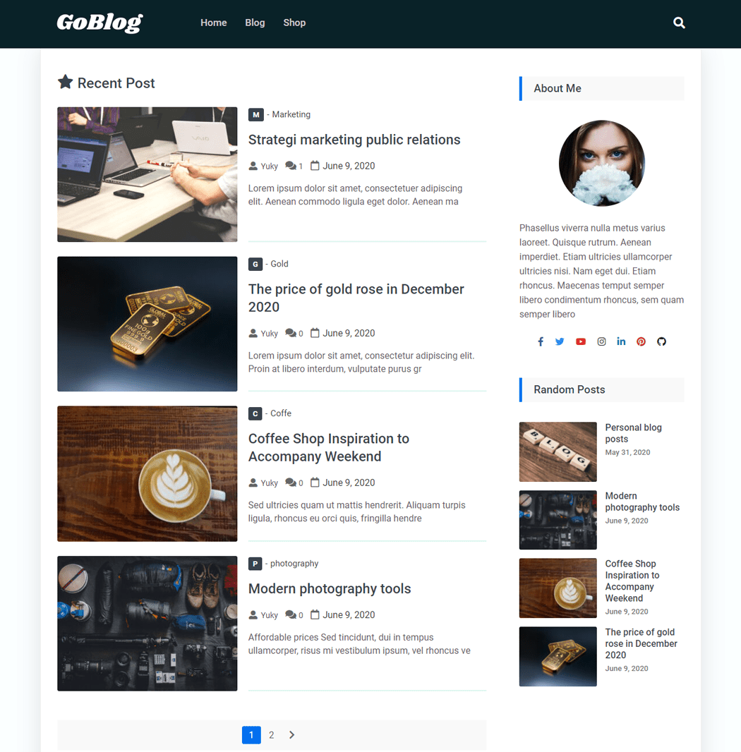 Goblog Free is a WordPress theme with a clean design
